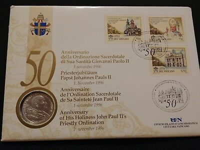 1996 Vatican Italy rare silver coin UNC 50th Anniversary in official Folder