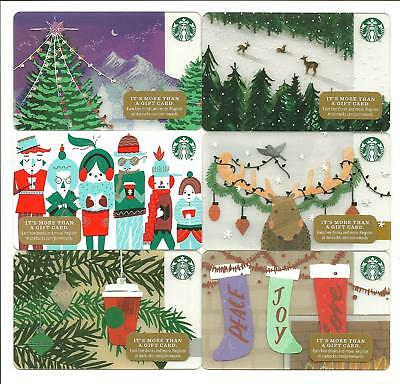 Lot of (6) Starbucks Holiday Snow Reindeer Gift Cards No $ Value Collectible