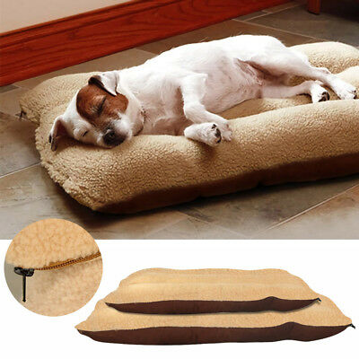 Large Small Dog Bed Cushion Soft Warm Pet Mat Kennel Mattress Pad Removable