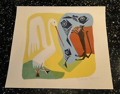 Vintage MID CENTURY ABSTRACT PAINTING MODERNIST Signed Chilwell Cat Stork Fish