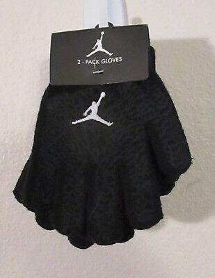 NWT Nike Jordan Jumpman Youth Boys  2-Pack Knit Gloves 8/20 Black MSRP$25