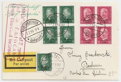 1930 Germany Zeppelin Cover, Block Of 4 Stamps, Graf Zeppelin Red Pmk