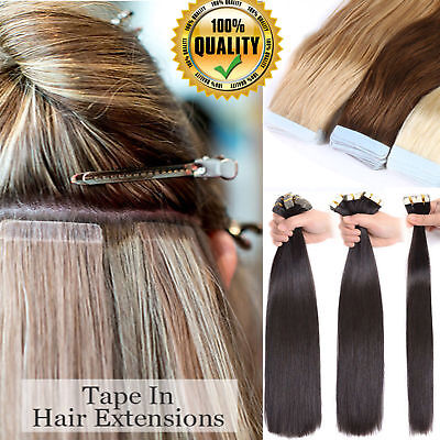 UK Stock 12inch M Tape in Hair 100% Remy Straight Tape Human Hair Extension 60A2