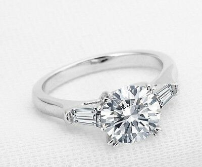 Certified Solid 14K White Gold 2Ct Enhanced Diamond Engagement Ring Round