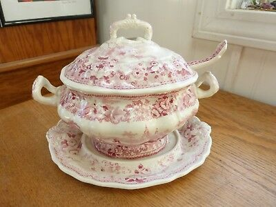 Vintage antique Davenport pink red transferware covered soup tureen ladle plate