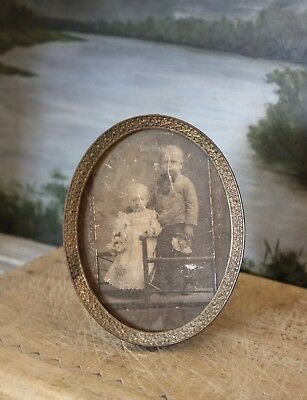 Antique 19th C. Victorian Miniature Frame Oval Brass Easel w/Embossed Flowers
