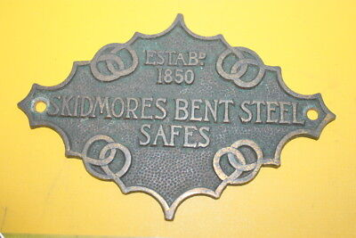 Antique Safe Plaque Brass Name Plate Victorian Antique Skidmores Bent Steel