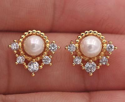 """18K Yellow Gold Filled Earrings """"V"""" Gemstone Topaz Circle Pearl Ear Stud Pageant"""