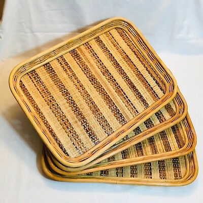 Lot 4 Vintage Tiki Party Bamboo Rattan Wicker Bed Breakfast Serving Lap Trays