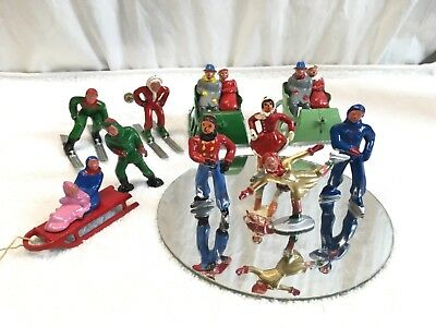 Vintage Lot Cast Metal Toys Winter Sports Sleigh Sled Skiers  Skaters