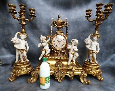 A HUGE FRENCH STYLE CLOCK GARNITURE WITH CANDELABRA WITH QUARTZ MOVEMENT c1990