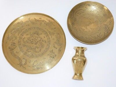 Vintage CHINESE Engraved BRASS Vase / Bowl / Tray DRAGONS Made in CHINA