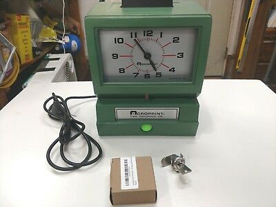 Vintage Acroprint Time Clock Recorder Model: 125NR4 Key NEW With Ribbon