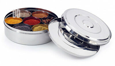 Zinel Spice Box/Masala Dabba with 7 Comparments and 2 Stainless Steel Lids,...