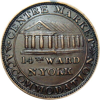 1837 New York City Hard Times Token Centre Market Accommodation HT-239 Low 110