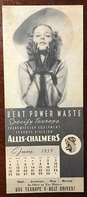 1939 Advertising Ink Blotter ~ Allis-Chalmers - Fashion Model