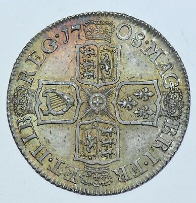 1708 Shilling, Plain Angles, British Silver Coin From Anne Au