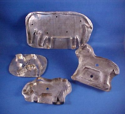 4 Antique Primitive Soldered Tin Cookie Cutters ~ Elephant, Camel, Lion & Wolf