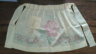 Vintage Hand Cross Stitched Yellow Gingham Apron W/ Rise Design