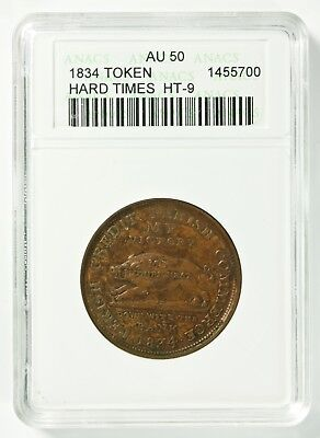 1834 Jackson Satirical Running Boar Hard Times Token HT-9 ANACS AU 50