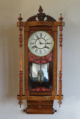 Antique Victorian American Inlaid Wall Clock by Waterbury c1880 Chiming 8 Day