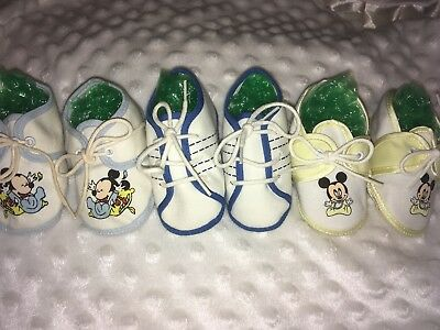 Vintage Lot Of Baby Boys Cloth Shoes Mickey Mouse On Two Pr. Perfect Condition