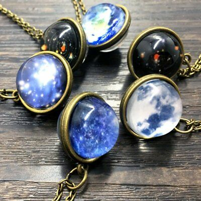 Galaxy System Glow in the Dark Necklace Pendant Double Sided Glass Dome Planet