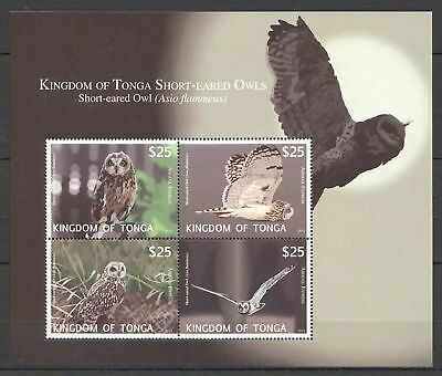 Short-eared Owl stamps MNH S/S 2012 Tonga bird stamps  C/V 110.00 EUR