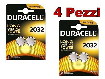 4 Batterie DURACELL CR2032 3 V 2032 LITIO quattro batterie litio CR2032