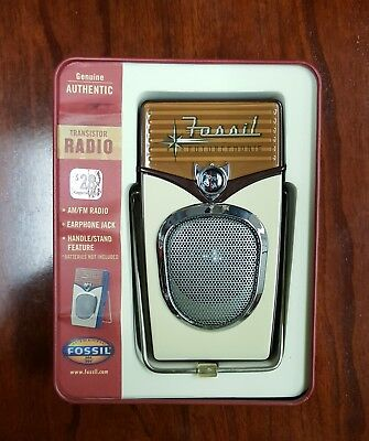 NEW OLD STOCK Fossil 1950's style AM-FM transistor Radio, New In Box  Plays well