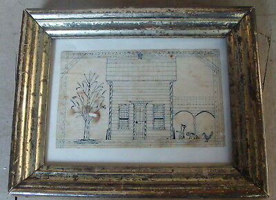 Delightful framed 19th C schoolboy/girl pen and ink drawing; cat, chicken, etc *