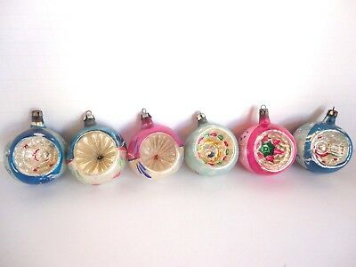 Vintage Hand blown indent mercury glass tree ornaments lot of 6 Poland