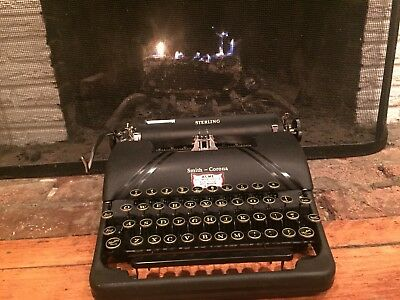 Vintage Smith Corona Sterling with Floating ShiftTypewriter Black with Case