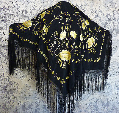 Black silk Chinese piano shawl yellow-gold embroidery 41 in square 9 in fringe