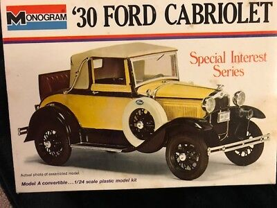 NEW VINTAGE MONOGRAM 1930 FORD CABRIOLET MODEL KIT IN BOX 1/24 SCALE Special Int