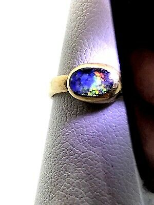 Antique Black Opal 14k Yellow Gold Natural Opal Size 5.75 Very Old Gold Band