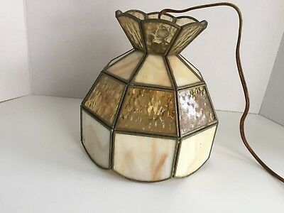 """Stained Leaded Glass Ceiling light fixture Pendant Sconce 8"""" Tall Antique Brass"""