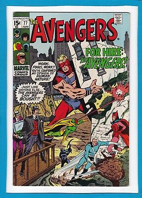"""Avengers #77_June 1970_Very Fine Minus_""""heroes For Hire""""_Bronze Age Marvel!"""