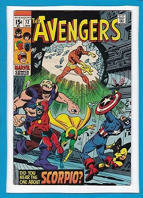"""Avengers #72_January 1970_Very Fine_""""did You Hear The One About Scorpio?""""!"""