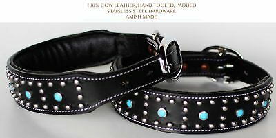 Small 13''- 17'' Rhinestone Dog Puppy Collar Crystal Cow Leather Western 6045