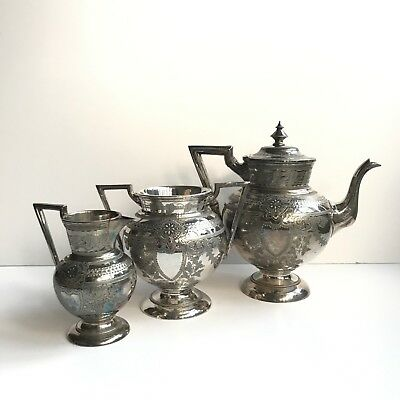 Antique / Vintage Metal Ware Bundle Teapot Milk / CreaJug Pot Sugar Bowl Joblot