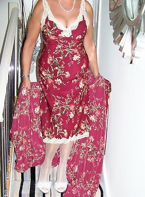 STUNNING VINTAGE ULTRA FEMME SILKY FLORAL NIGHTGOWN/MATCHING ROBE SET'M&S' sz38