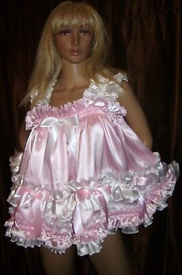 Prissy Sissy Maid Adult Baby CD/TV Pink & White Faux Satin Baby Doll Night Dress