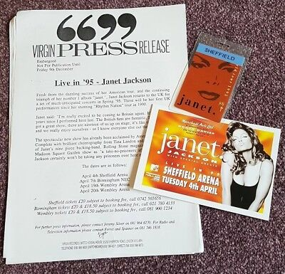 Janet Jackson Uk Press Kit Release Backstage Pass And Promo Flyer 1995 Sheffield