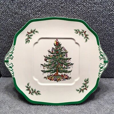 "SPODE ""Christmas Tree"" Square Handled Cake Plate S3324-Y"