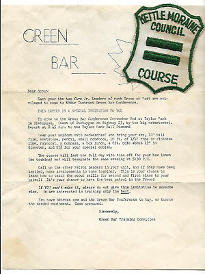 KETTLE MORAINE COUNCIL - 1953 GREEN BAR COURSE - Boy Scout BSA G&W/12-10
