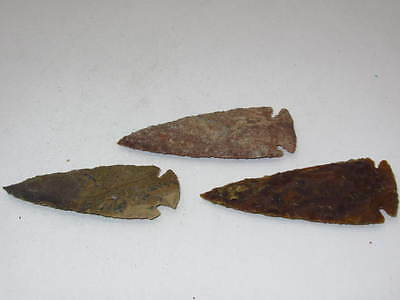 3 Stone spearheads......V3D72..... Ornamental replica primitive tool.....arrowhe