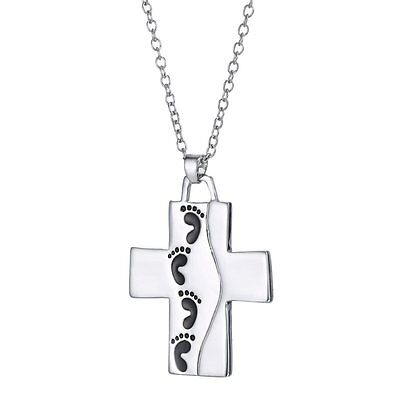 Unique religious Cross footprint Silver Necklace Pendant Words Backside Jewelry