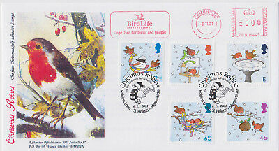 2001 Christmas Robins Stamps Sheridan Official FDC with MM 1 of only 5 produced