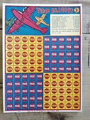 Vintage Original TOP FLIGHT Punch Card Game Punch Board 1 (cent) Pilot Airplane